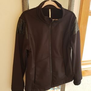 Fabletics Black Moto Jacket w/ Faux Leather Accent